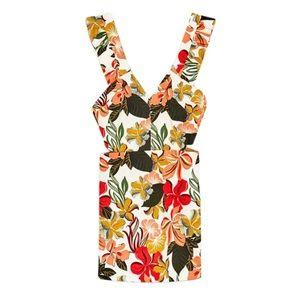 ZARA White Orange Floral Print Romper/Jumpsuit